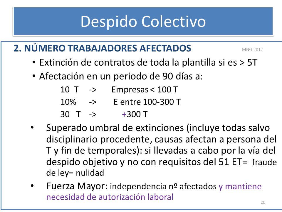 2. NÚMERO TRABAJADORES AFECTADOS Extinción de contratos de toda la plantilla si es > 5T Afectación en un periodo de 90 días a : 10 T -> Empresas < 100
