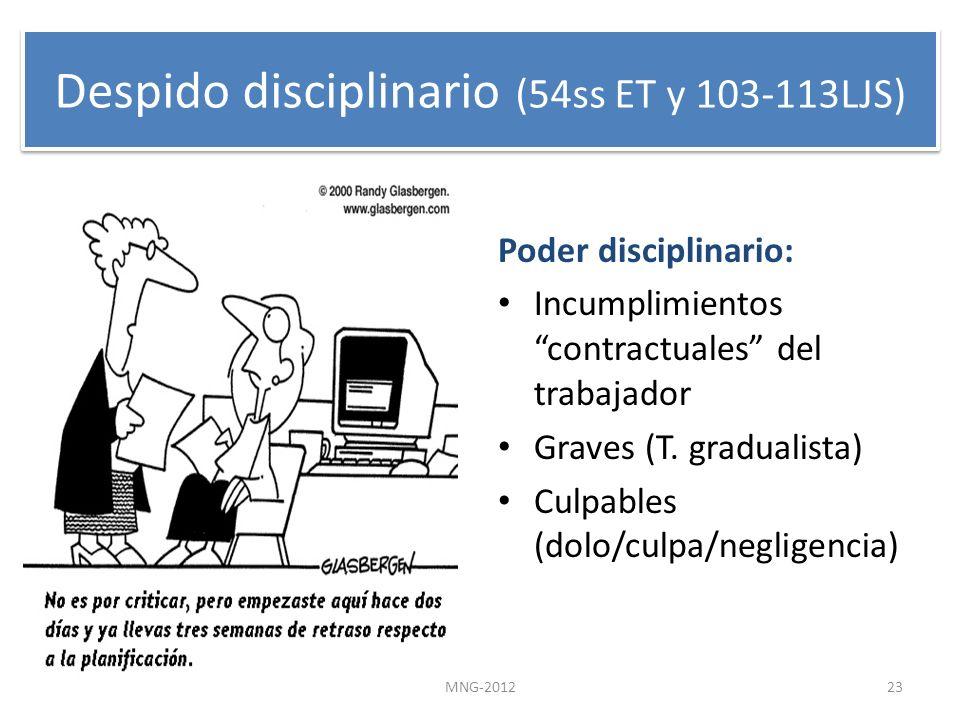 Despido disciplinario (54ss ET y 103-113LJS) Poder disciplinario: Incumplimientos contractuales del trabajador Graves (T. gradualista) Culpables (dolo