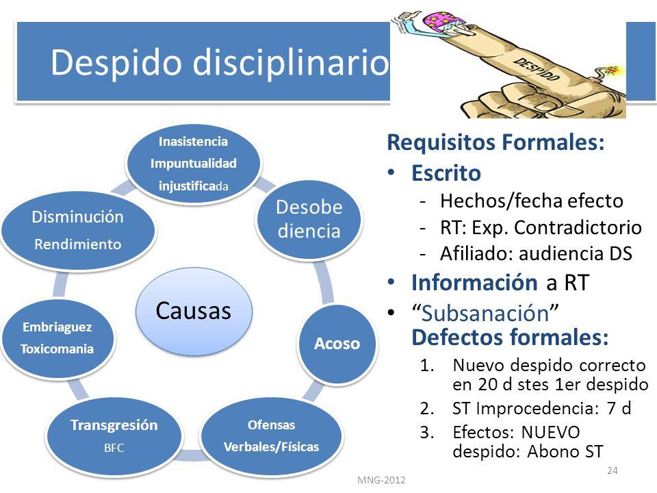 Despido disciplinario Requisitos Formales: Escrito -Hechos/fecha efecto -RT: Exp. Contradictorio -Afiliado: audiencia DS Información a RT Subsanación