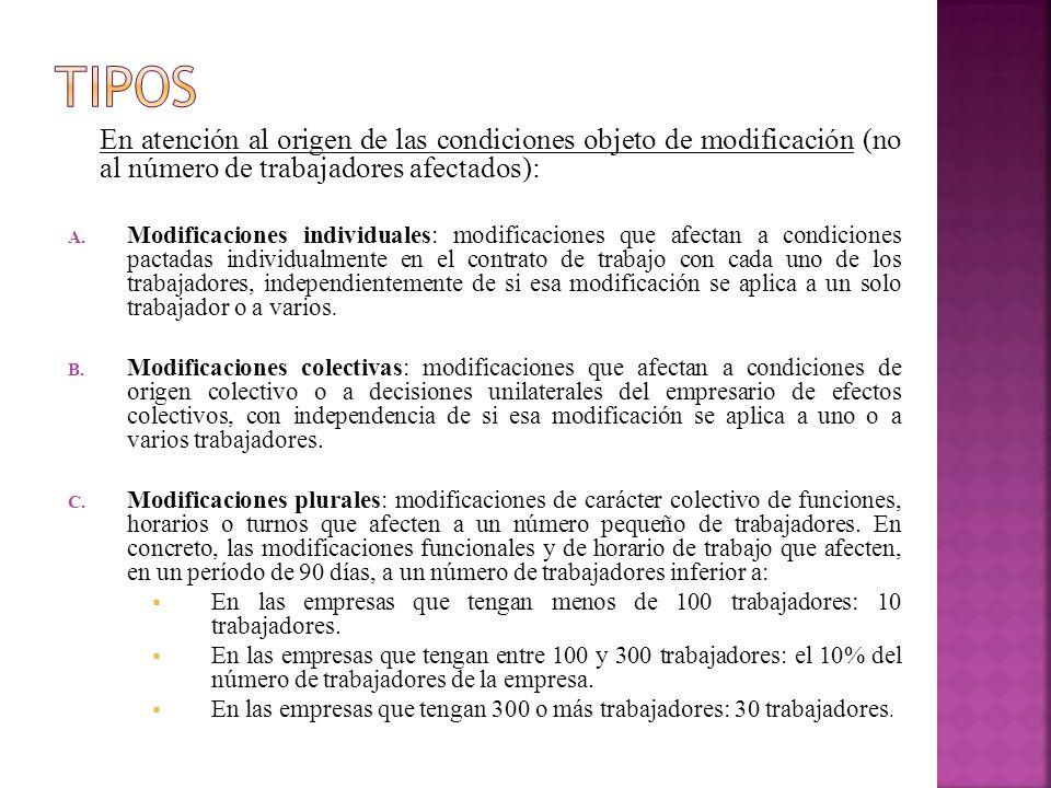 En atención al origen de las condiciones objeto de modificación (no al número de trabajadores afectados): A. Modificaciones individuales: modificacion