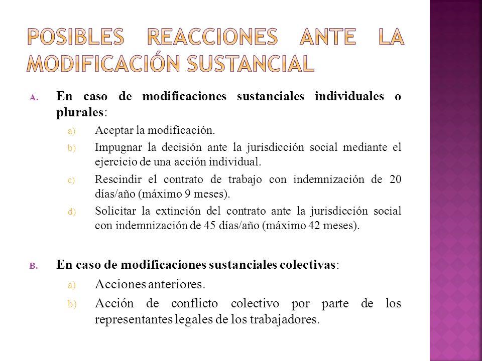 A. En caso de modificaciones sustanciales individuales o plurales: a) Aceptar la modificación. b) Impugnar la decisión ante la jurisdicción social med