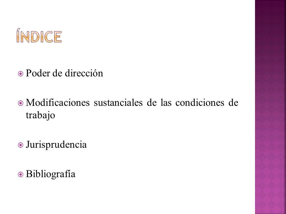 Poder de dirección Modificaciones sustanciales de las condiciones de trabajo Jurisprudencia Bibliografía
