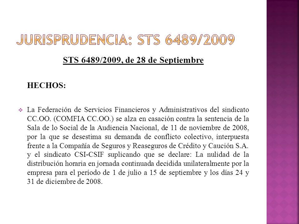 STS 6489/2009, de 28 de Septiembre HECHOS: La Federación de Servicios Financieros y Administrativos del sindicato CC.OO. (COMFIA CC.OO.) se alza en ca