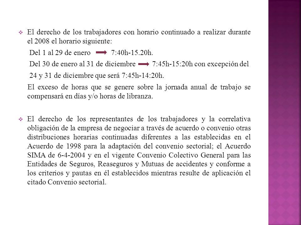 El derecho de los trabajadores con horario continuado a realizar durante el 2008 el horario siguiente: Del 1 al 29 de enero 7:40h-15.20h. Del 30 de en