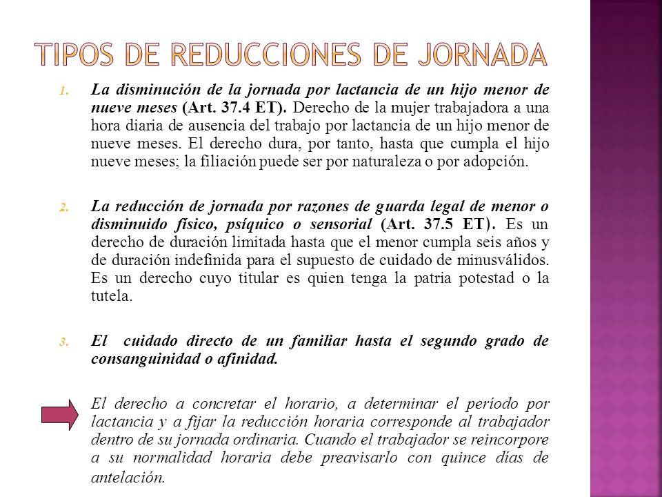 1. La disminución de la jornada por lactancia de un hijo menor de nueve meses (Art. 37.4 ET). Derecho de la mujer trabajadora a una hora diaria de aus