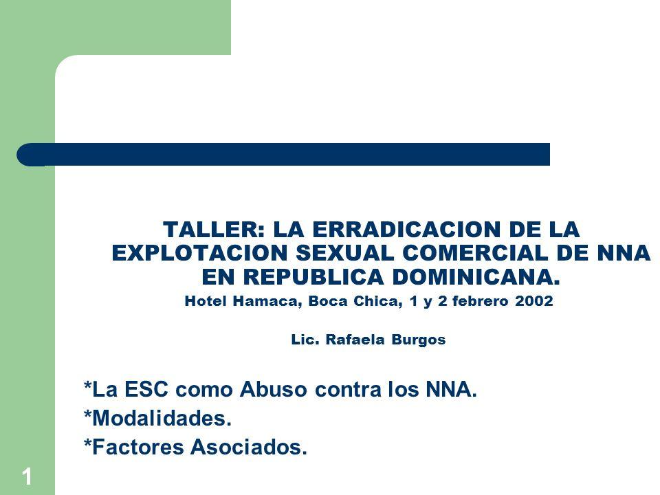 1 TALLER: LA ERRADICACION DE LA EXPLOTACION SEXUAL COMERCIAL DE NNA EN REPUBLICA DOMINICANA. Hotel Hamaca, Boca Chica, 1 y 2 febrero 2002 Lic. Rafaela