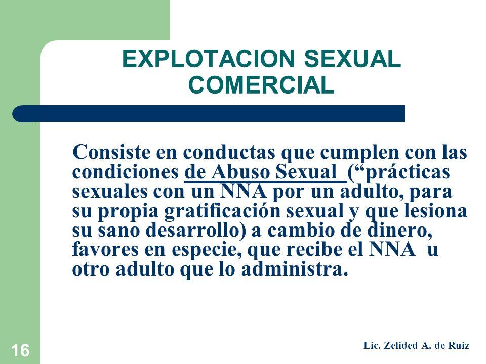 16 EXPLOTACION SEXUAL COMERCIAL Consiste en conductas que cumplen con las condiciones de Abuso Sexual (prácticas sexuales con un NNA por un adulto, pa