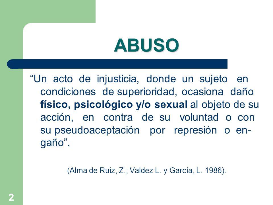 2 ABUSO Un acto de injusticia, donde un sujeto en condiciones de superioridad, ocasiona daño físico, psicológico y/o sexual al objeto de su acción, en