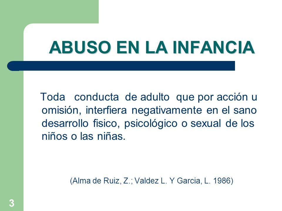 3 ABUSO EN LA INFANCIA Toda conducta de adulto que por acción u omisión, interfiera negativamente en el sano desarrollo fisico, psicológico o sexual d