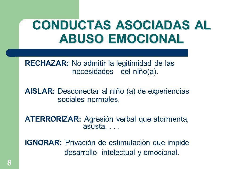 8 CONDUCTAS ASOCIADAS AL ABUSO EMOCIONAL RECHAZAR: No admitir la legitimidad de las necesidades del niño(a). AISLAR: Desconectar al niño (a) de experi