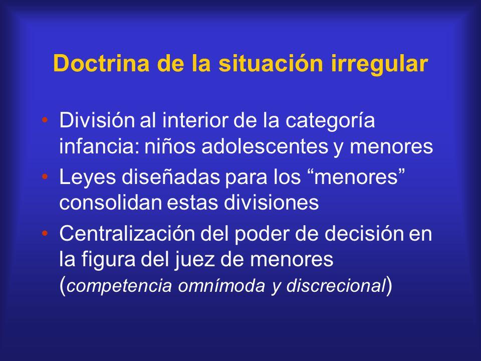 Doctrina de la situación irregular División al interior de la categoría infancia: niños adolescentes y menores Leyes diseñadas para los menores consol