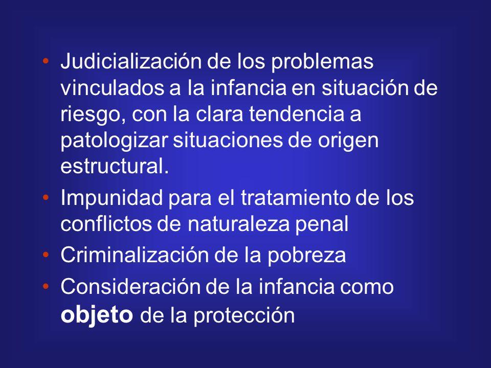 Judicialización de los problemas vinculados a la infancia en situación de riesgo, con la clara tendencia a patologizar situaciones de origen estructur