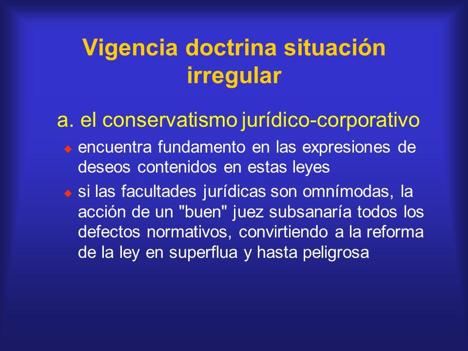 Vigencia doctrina situación irregular a. el conservatismo jurídico-corporativo encuentra fundamento en las expresiones de deseos contenidos en estas l