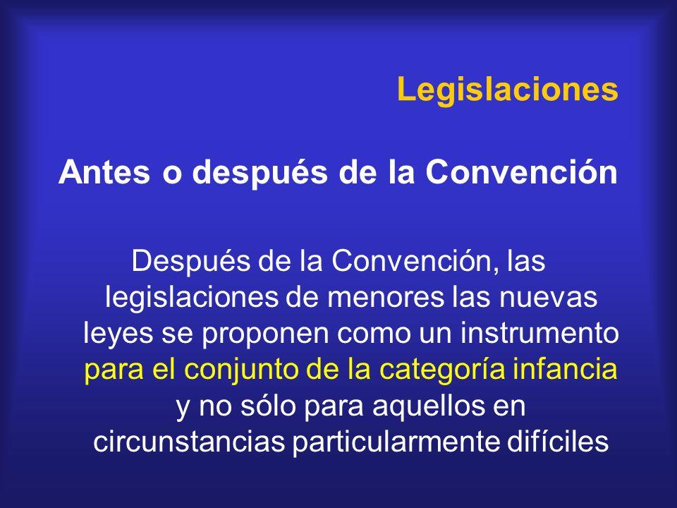 Legislaciones Antes o después de la Convención Después de la Convención, las legislaciones de menores las nuevas leyes se proponen como un instrumento
