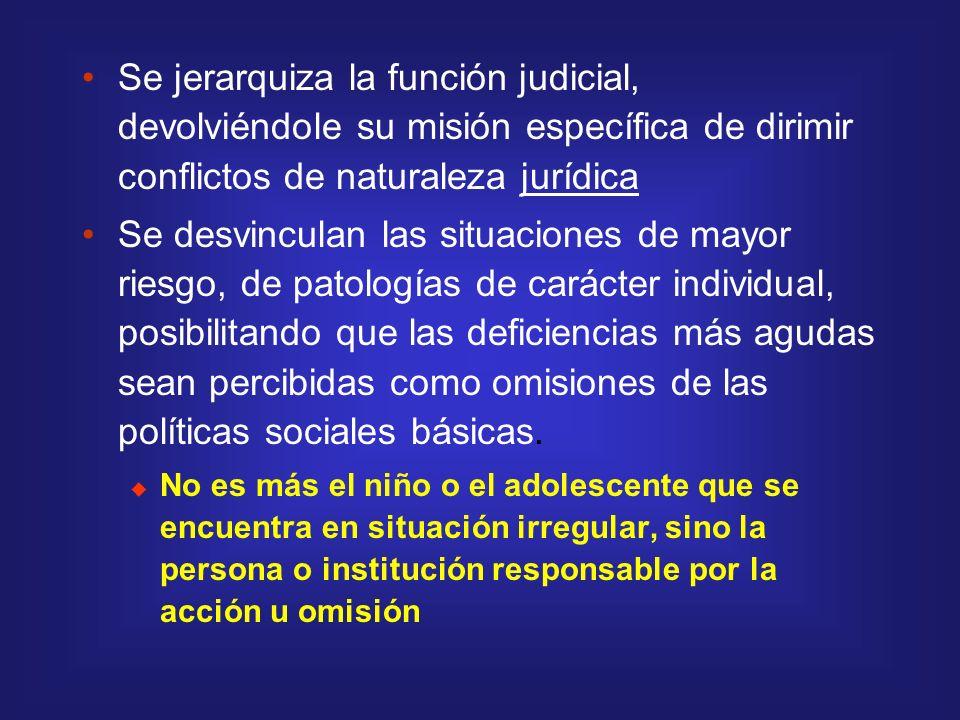 Se jerarquiza la función judicial, devolviéndole su misión específica de dirimir conflictos de naturaleza jurídica Se desvinculan las situaciones de m