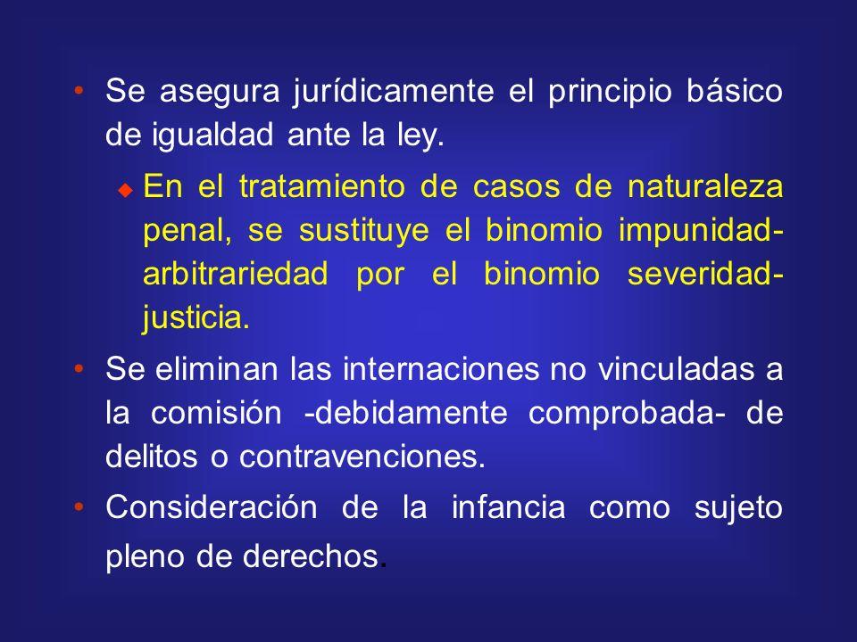 Se asegura jurídicamente el principio básico de igualdad ante la ley. En el tratamiento de casos de naturaleza penal, se sustituye el binomio impunida