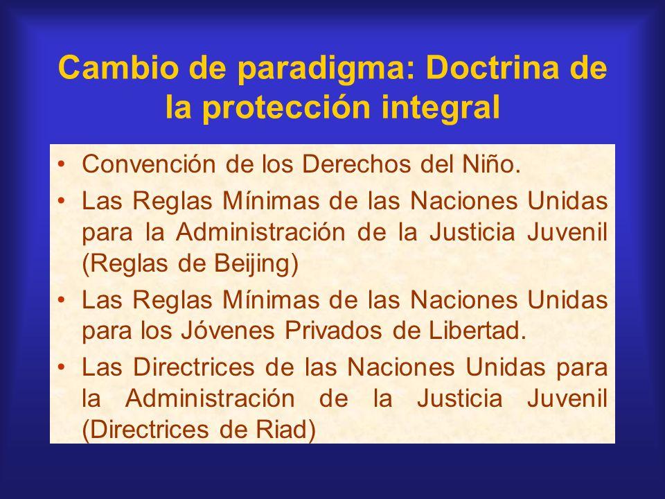 Cambio de paradigma: Doctrina de la protección integral Convención de los Derechos del Niño. Las Reglas Mínimas de las Naciones Unidas para la Adminis
