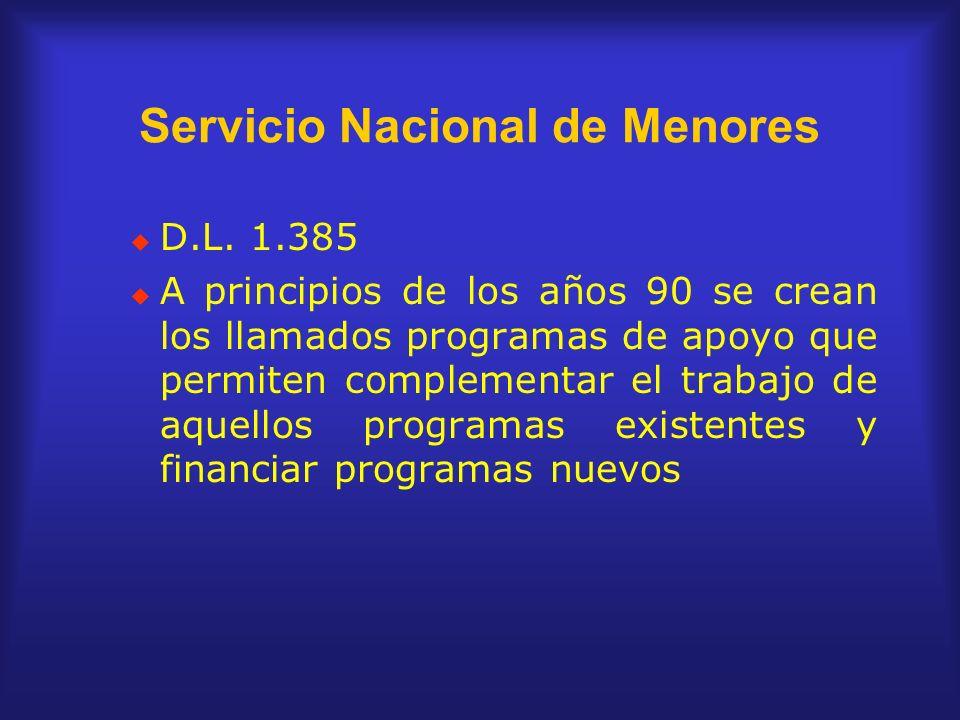 Servicio Nacional de Menores D.L. 1.385 A principios de los años 90 se crean los llamados programas de apoyo que permiten complementar el trabajo de a