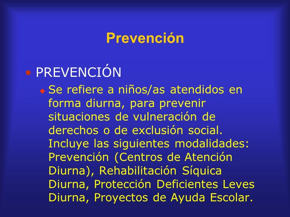 Prevención PREVENCIÓN Se refiere a niños/as atendidos en forma diurna, para prevenir situaciones de vulneración de derechos o de exclusión social. Inc