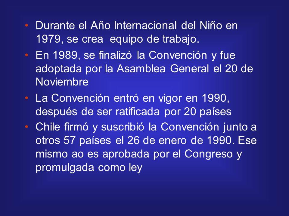 Durante el Año Internacional del Niño en 1979, se crea equipo de trabajo. En 1989, se finalizó la Convención y fue adoptada por la Asamblea General el