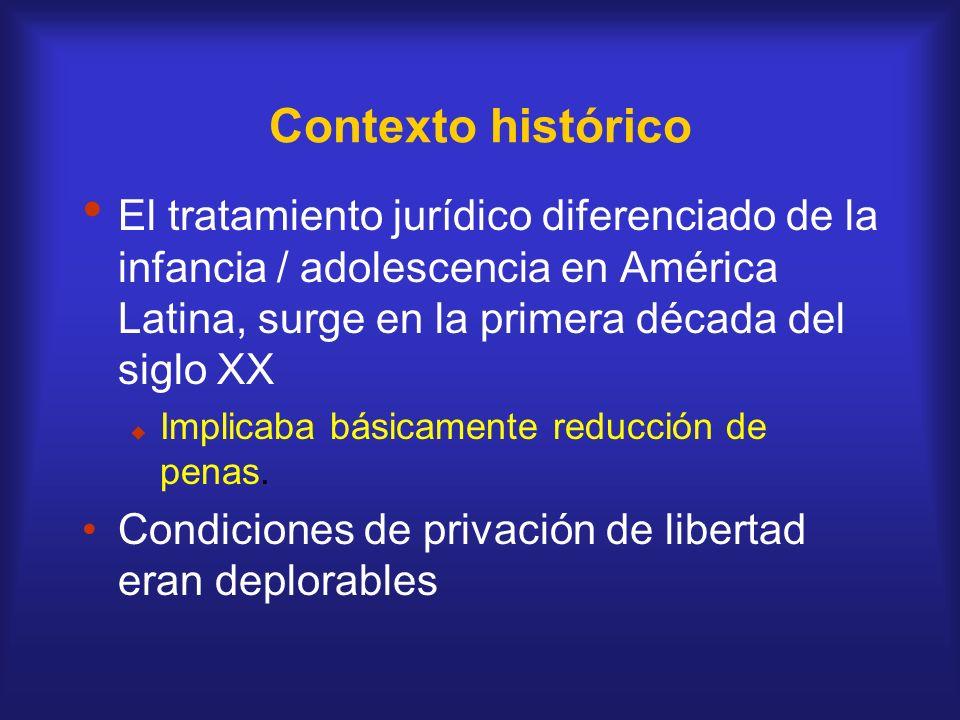 Contexto histórico El tratamiento jurídico diferenciado de la infancia / adolescencia en América Latina, surge en la primera década del siglo XX Impli