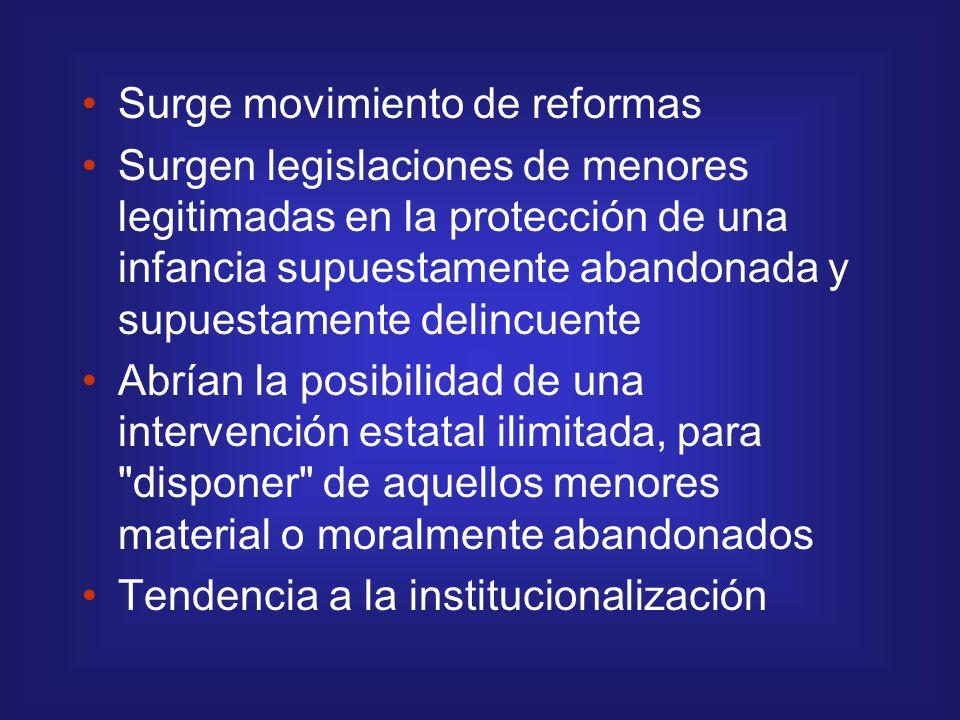 Surge movimiento de reformas Surgen legislaciones de menores legitimadas en la protección de una infancia supuestamente abandonada y supuestamente del