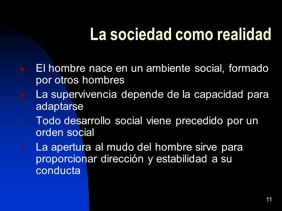 10 Berger / Luckman el problema de la sociología La realidad se construye socialmente La realidad social es relativa, porque lo que es real para un ru