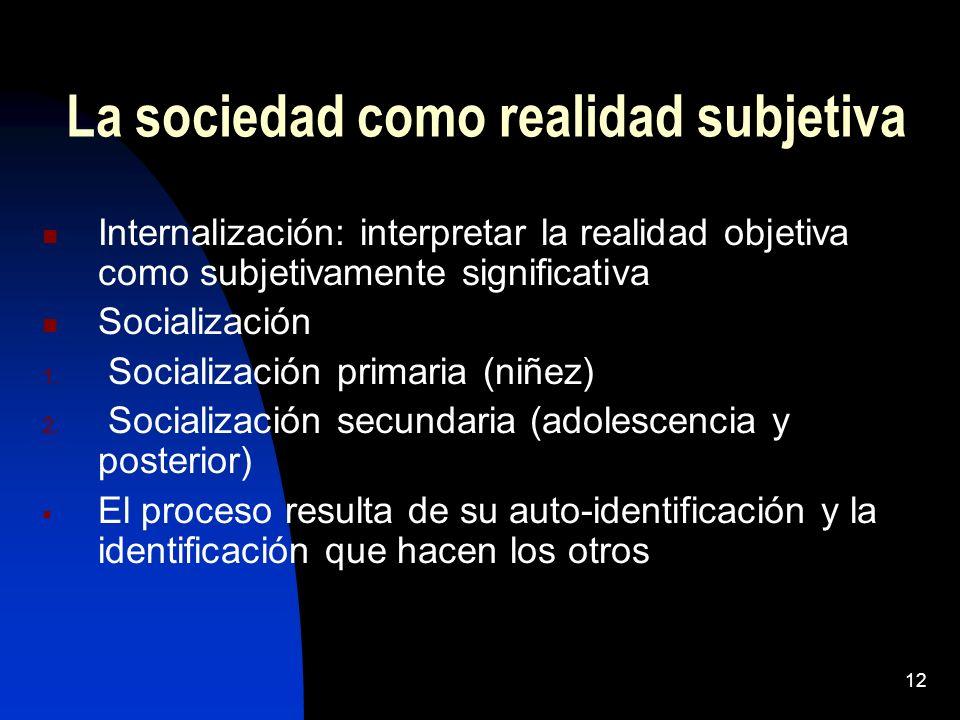 11 La sociedad como realidad El hombre nace en un ambiente social, formado por otros hombres La supervivencia depende de la capacidad para adaptarse 1