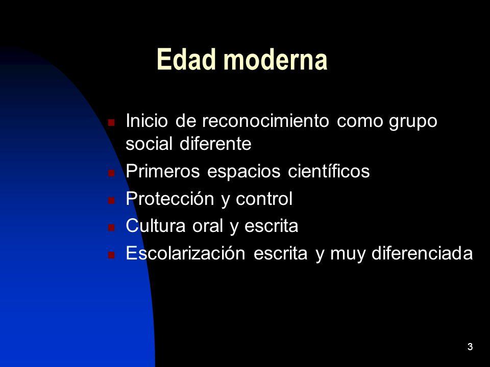 3 Edad moderna Inicio de reconocimiento como grupo social diferente Primeros espacios científicos Protección y control Cultura oral y escrita Escolarización escrita y muy diferenciada