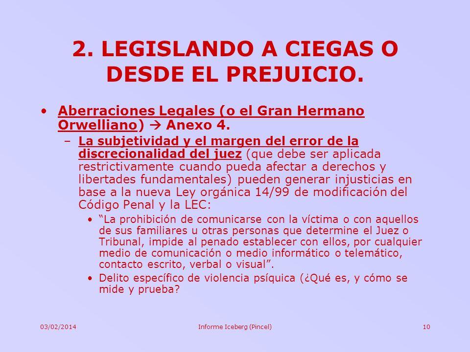 03/02/2014Informe Iceberg (Pincel)10 2. LEGISLANDO A CIEGAS O DESDE EL PREJUICIO. Aberraciones Legales (o el Gran Hermano Orwelliano) Anexo 4. –La sub