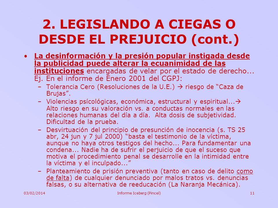 03/02/2014Informe Iceberg (Pincel)11 2. LEGISLANDO A CIEGAS O DESDE EL PREJUICIO (cont.) La desinformación y la presión popular instigada desde la pub