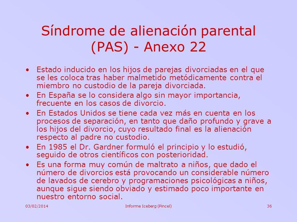 03/02/2014Informe Iceberg (Pincel)36 Síndrome de alienación parental (PAS) - Anexo 22 Estado inducido en los hijos de parejas divorciadas en el que se
