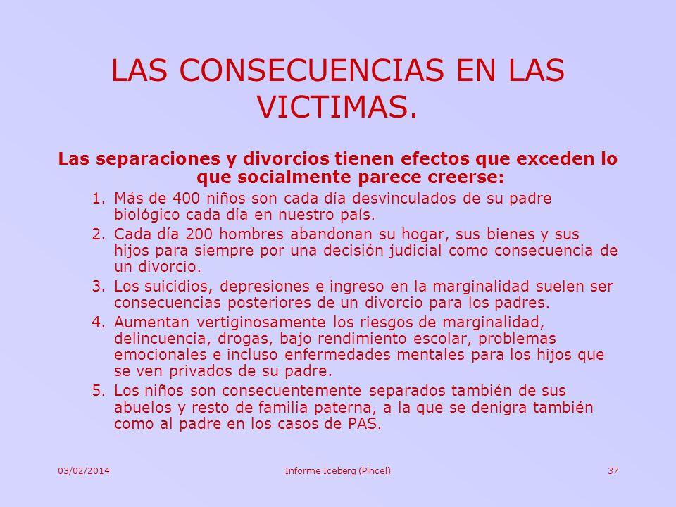 03/02/2014Informe Iceberg (Pincel)37 LAS CONSECUENCIAS EN LAS VICTIMAS. Las separaciones y divorcios tienen efectos que exceden lo que socialmente par