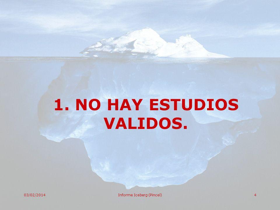 03/02/2014Informe Iceberg (Pincel)4 1. NO HAY ESTUDIOS VALIDOS.