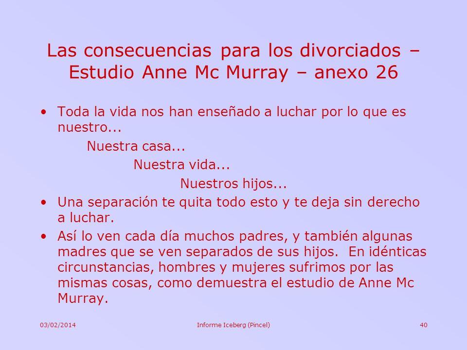 03/02/2014Informe Iceberg (Pincel)40 Las consecuencias para los divorciados – Estudio Anne Mc Murray – anexo 26 Toda la vida nos han enseñado a luchar
