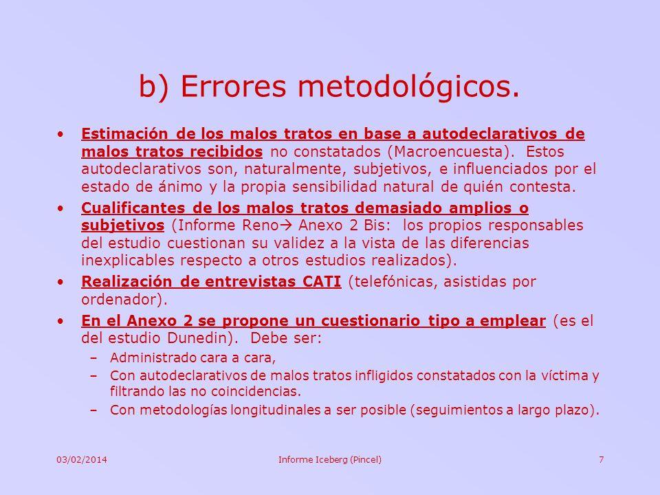 03/02/2014Informe Iceberg (Pincel)7 b) Errores metodológicos. Estimación de los malos tratos en base a autodeclarativos de malos tratos recibidos no c