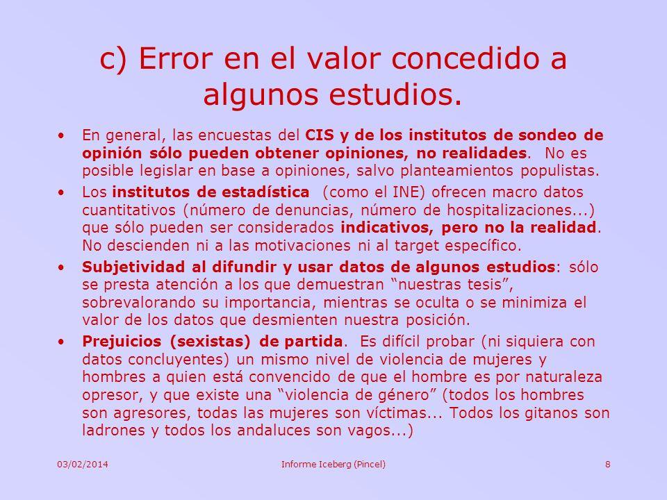 03/02/2014Informe Iceberg (Pincel)8 c) Error en el valor concedido a algunos estudios. En general, las encuestas del CIS y de los institutos de sondeo
