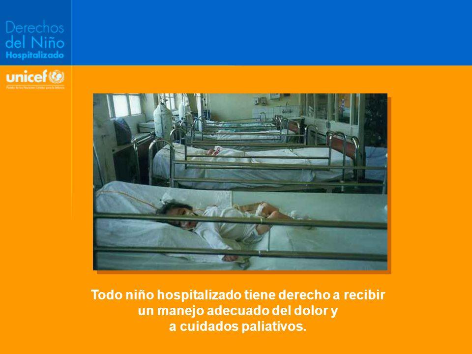 Todo niño hospitalizado tiene derecho a recibir un manejo adecuado del dolor y a cuidados paliativos.