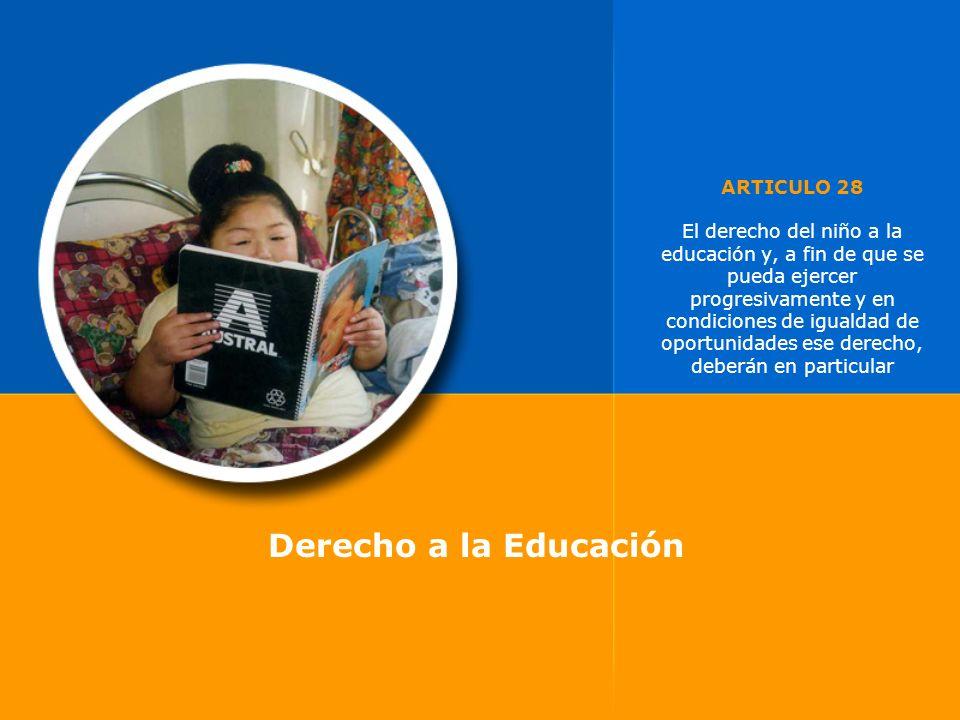 ARTICULO 28 El derecho del niño a la educación y, a fin de que se pueda ejercer progresivamente y en condiciones de igualdad de oportunidades ese dere