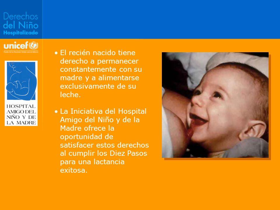 El recién nacido tiene derecho a permanecer constantemente con su madre y a alimentarse exclusivamente de su leche. La Iniciativa del Hospital Amigo d