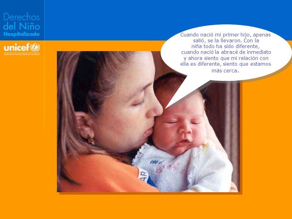 ARTICULO 24 e Asegurar que los padres conozcan las ventajas de la lactancia materna y reciban apoyo en la aplicación de esos conocimientos El niño hospitalizado tiene derecho a ser amamantado por su madre