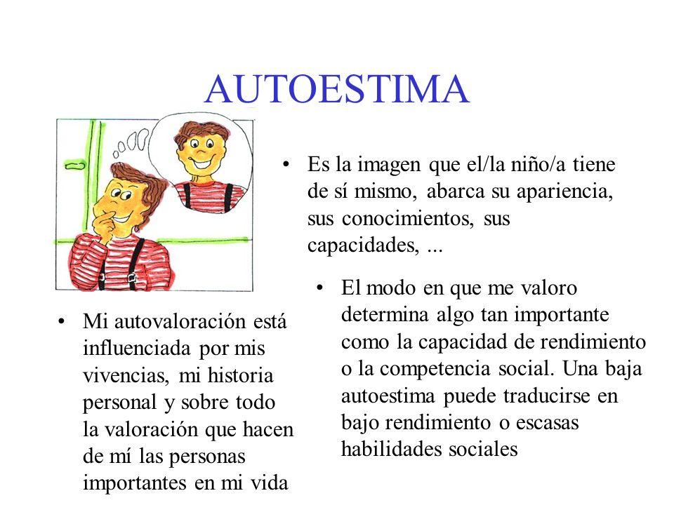 AUTOESTIMA Es la imagen que el/la niño/a tiene de sí mismo, abarca su apariencia, sus conocimientos, sus capacidades,... Mi autovaloración está influe