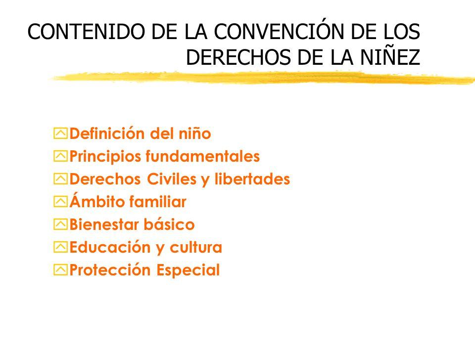 CONTENIDO DE LA CONVENCIÓN DE LOS DERECHOS DE LA NIÑEZ y Definición del niño y Principios fundamentales y Derechos Civiles y libertades y Ámbito famil
