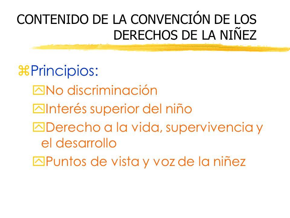 CONTENIDO DE LA CONVENCIÓN DE LOS DERECHOS DE LA NIÑEZ zPrincipios: yNo discriminación yInterés superior del niño yDerecho a la vida, supervivencia y