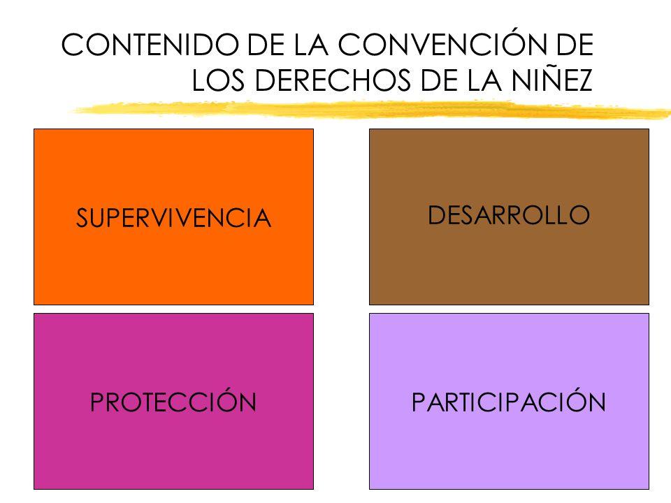 CONTENIDO DE LA CONVENCIÓN DE LOS DERECHOS DE LA NIÑEZ SUPERVIVENCIA PROTECCIÓNPARTICIPACIÓN DESARROLLO