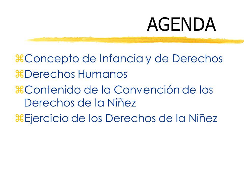 AGENDA zConcepto de Infancia y de Derechos zDerechos Humanos zContenido de la Convención de los Derechos de la Niñez zEjercicio de los Derechos de la