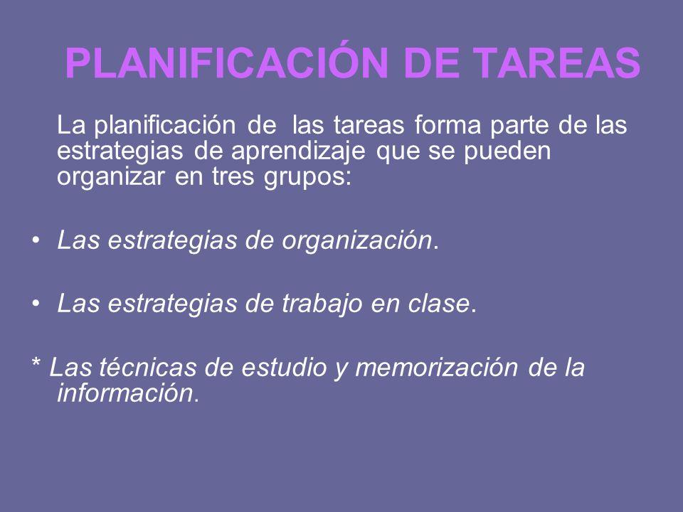PLANIFICACIÓN DE TAREAS La planificación de las tareas forma parte de las estrategias de aprendizaje que se pueden organizar en tres grupos: Las estra