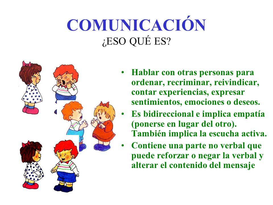 COMUNICACIÓN Para que la comunicación sea eficaz son necesarias ciertas variables ambientales: contacto ocular (o táctil), distancia adecuada al mensaje, sonidos de fondo que no impidan adecuada recepción auditiva, entonación y gestos acordes con lo que queremos trasmitir.