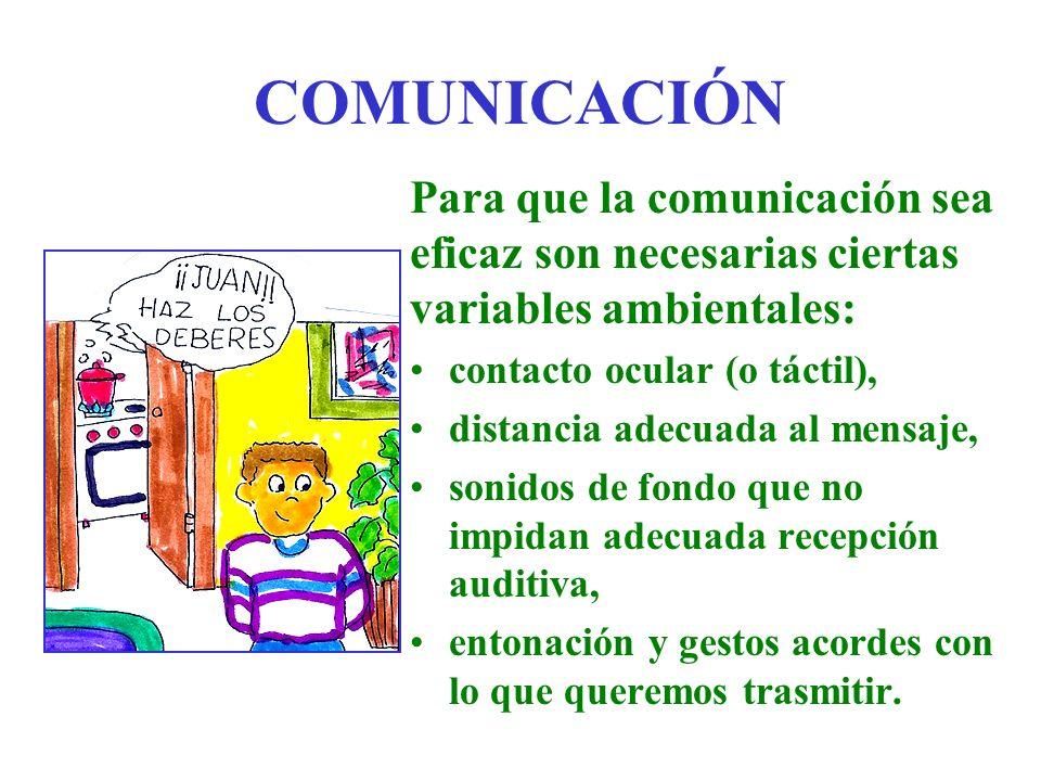 COMUNICACIÓN Para que la comunicación sea eficaz son necesarias ciertas variables ambientales: contacto ocular (o táctil), distancia adecuada al mensa