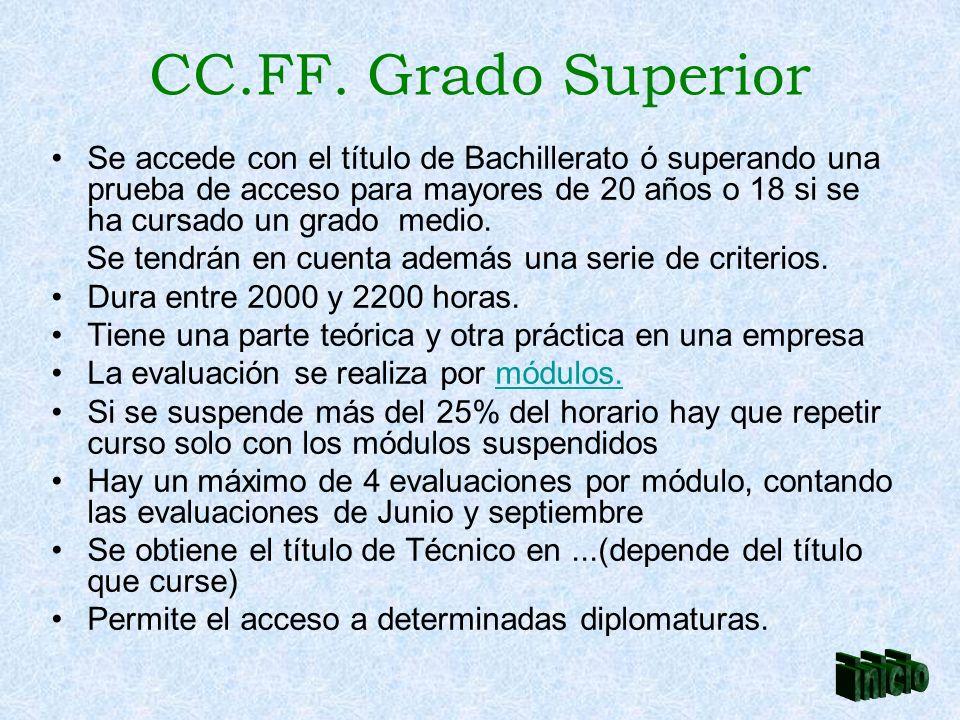 CC.FF. Grado Superior Se accede con el título de Bachillerato ó superando una prueba de acceso para mayores de 20 años o 18 si se ha cursado un grado